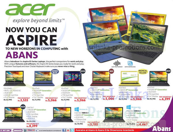Featured image for Abans Acer Aspire Notebooks Offers 7 Sep 2015