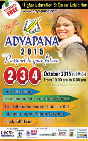Featured image for Adyapana Higher Education & Career Exhibition @ BMICH 2 – 5 Oct 2015