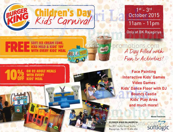 Featured image for Burger King Children's Day Specials @ Rajagiriya 1 – 3 Oct 2015