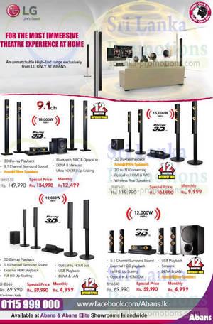 Featured image for LG Home Theatre System Offers @ Abans 27 Sep 2015