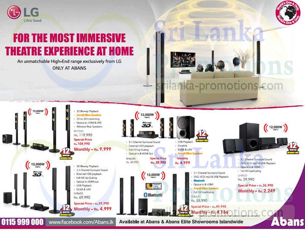 Featured image for LG Home Theatre Systems Offers @ Abans 13 Sep 2015