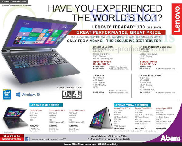 Lenovo Notebooks / Laptop Offers @ Abans 27 Sep 2015