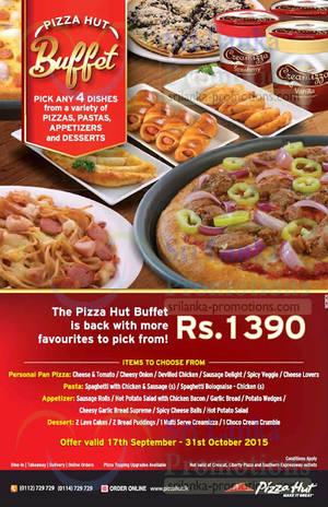Featured image for Pizza Hut Rs 1390 Buffet Deal (Pizza + Pasta + Appetizer + Dessert) 20 Sep – 31 Oct 2015