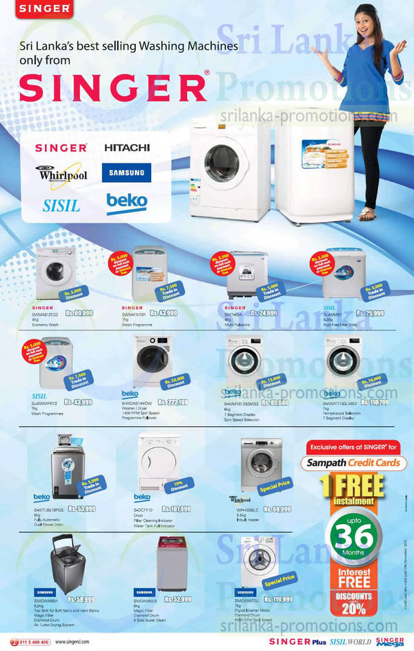 Featured image for Singer, Beko, Samsung & Whirlpool Washer Offers @ Singer 27 Sep 2015