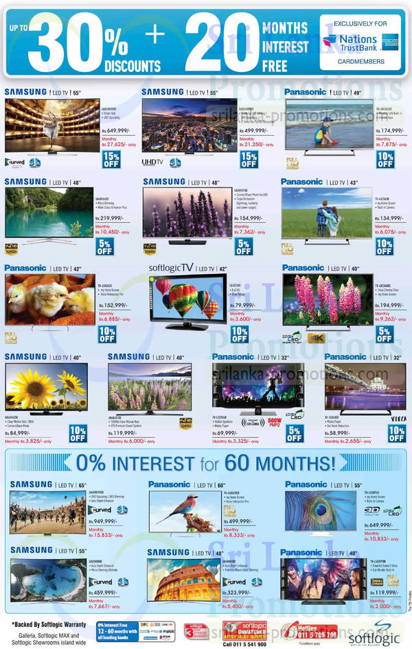 Featured image for Samsung & Panasonic TV Offers @ Softlogic 27 Sep 2015
