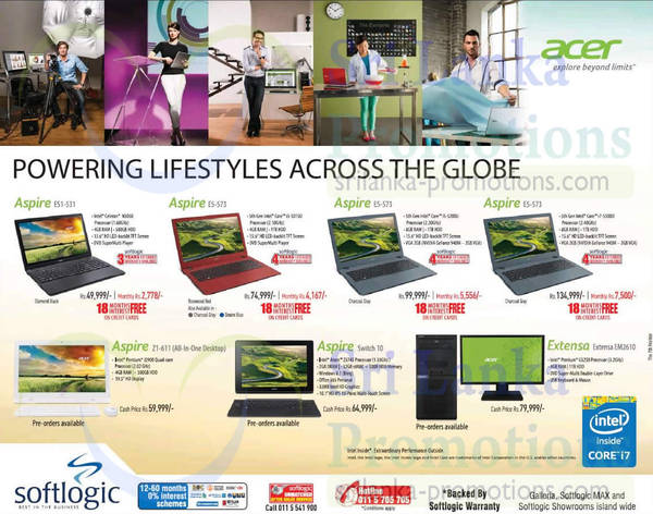 Featured image for Acer Notebooks & Desktop PC Offers @ Softlogic 7 Oct 2015