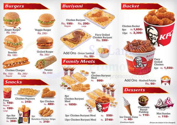 KFC Menu Prices From 25 Oct 2015 | Sri Lanka Promotions