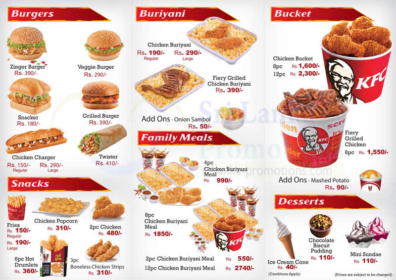 Burgers Buriyani Snacks Family Meals Bucket Desserts