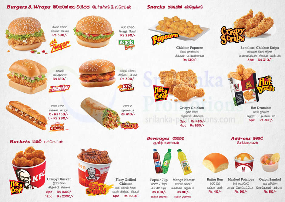 Delivery Burgers Snacks Buckets Beverages 187 Kfc Menu