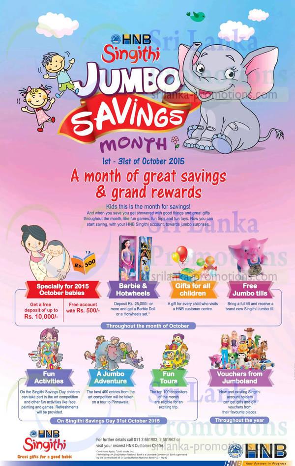 Featured image for HNB Singithi Jumbo Savings Month 3 – 31 Oct 2015