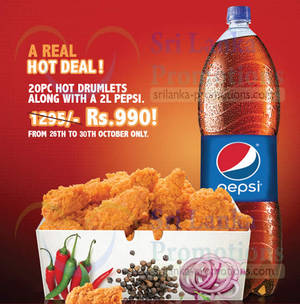 Featured image for KFC Rs 990 20pc Hot Drumlets Promotion 26 – 30 Oct 2015