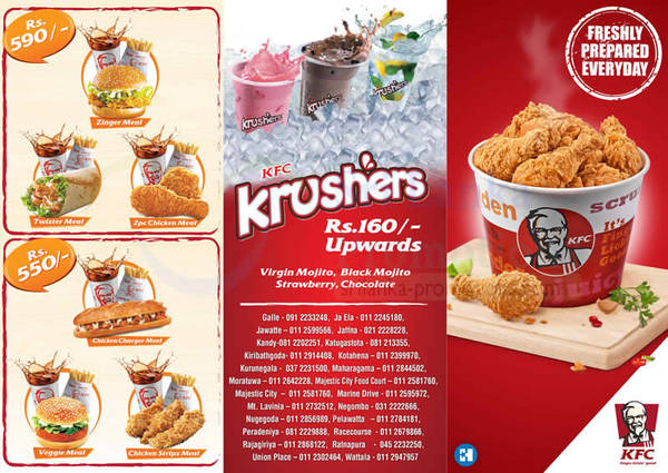 KFC Menu Prices From 25 Oct 2015