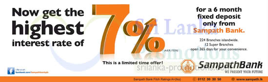 Sampath Bank 7.12% p.a. (A.E.R) 6-mth Fixed Deposit Offer ...