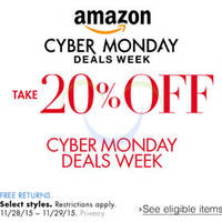 Amazon.com 20% OFF Fashion, Travel, Jewellery & More (NO Min Spend) Cyber Monday Coupon Code 28 - 30 Nov 2015