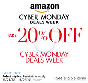 Featured image for Amazon.com 20% OFF Fashion, Travel, Jewellery & More (NO Min Spend) Cyber Monday Coupon Code 28 – 30 Nov 2015