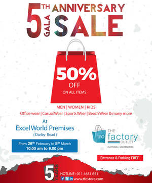 Featured image for The Factory Outlet 50% Off Storewide Sale 26 Feb – 5 Mar 2016