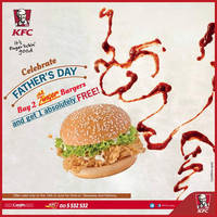 Celebrate Father's Day at KFC today. Buy two Zinger burgers and get the third on the house only on 19 June