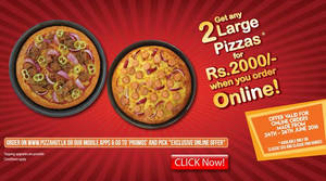 Featured image for Pizza Hut Two Large Pizzas for Rs 2,000 Online Offer from 24 – 26 Jun 2016