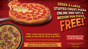 Featured image for Pizza Hut Buy Large Stuffed Crust Pizza & Get Medium Pan Pizza Free from 6 – 7 Jul 2016