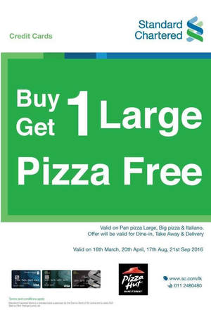 Featured image for Pizza Hut: Buy 1 Get 1 Free Large Pizzas for Standard Chartered on 21 Sep 2016