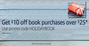 Featured image for Amazon.com: Coupon code for $10 off books ($25 min spend) from 24 – 28 Nov 2016