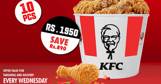 Featured image for KFC is offering 10pcs chicken for only Rs. 1950 (save Rs. 890) on Wednesdays